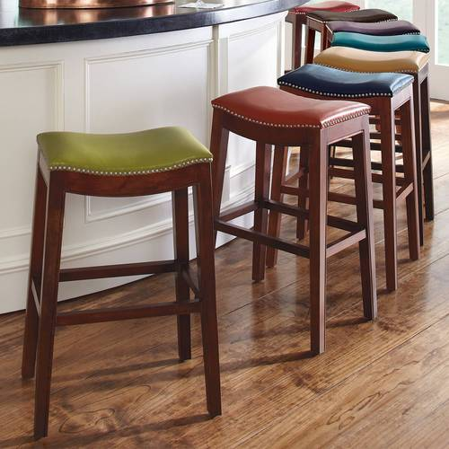 Dove Gray Leather Bar Stool Set of 2
