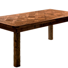Mesquite Basket Weave Table With Cypress Bark Legs