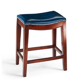 Navy Leather Bar Stools Set of 2