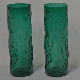 Pair of Teal Crackle Vases