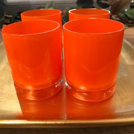 Set of 4 Orange High Ball Glasses